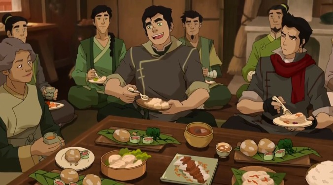 Mako and Bolin eat with their family in Ba Sing Se
