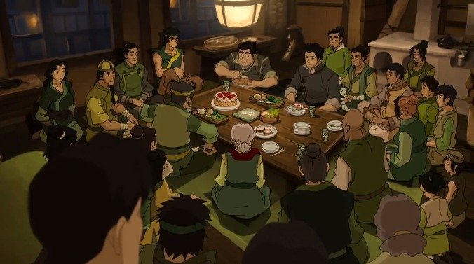 A wider shot of Mako and Bolin's family dinner